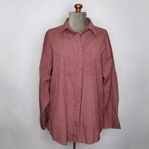 🎀 Men's Protocol Red White Plaid Button Up Shirt